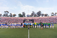 PASADENA, CA - AUGUST 4: The USWNT and Ireland stand during the national anthem during a game between Ireland and USWNT at Rose Bowl on August 3, 2019 in Pasadena, California.