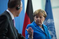 Der UN-Generalsekretaer Ban Ki-moon war am Montag den 8. Maerz 2016 zu Gespraechen bei Bundeskanzlerin Angela Merkel.<br /> 8.3.2016, Berlin<br /> Copyright: Christian-Ditsch.de<br /> [Inhaltsveraendernde Manipulation des Fotos nur nach ausdruecklicher Genehmigung des Fotografen. Vereinbarungen ueber Abtretung von Persoenlichkeitsrechten/Model Release der abgebildeten Person/Personen liegen nicht vor. NO MODEL RELEASE! Nur fuer Redaktionelle Zwecke. Don't publish without copyright Christian-Ditsch.de, Veroeffentlichung nur mit Fotografennennung, sowie gegen Honorar, MwSt. und Beleg. Konto: I N G - D i B a, IBAN DE58500105175400192269, BIC INGDDEFFXXX, Kontakt: post@christian-ditsch.de<br /> Bei der Bearbeitung der Dateiinformationen darf die Urheberkennzeichnung in den EXIF- und  IPTC-Daten nicht entfernt werden, diese sind in digitalen Medien nach §95c UrhG rechtlich geschuetzt. Der Urhebervermerk wird gemaess §13 UrhG verlangt.]