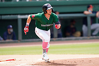 Shortstop Cam Cannon (4) of the Greenville Drive during a game against the Bowling Green Hot Rods on Sunday, May 9, 2021, at Fluor Field at the West End in Greenville, South Carolina. (Tom Priddy/Four Seam Images)