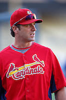 St.Louis Cardinals Manager Mike Matheny #22 before a game against the Los Angeles Dodgers at Dodger Stadium on September 13, 2012 in Los Angeles, California. St.Louis defeated Los Angeles 2-1. (Larry Goren/Four Seam Images)