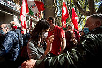 """Laura Boldrini MP (Former President of the Chamber of Deputies of the Italian Parliament).<br /> <br /> Rome, Italy. 10th October, 2021. Today, thousands of people gathered outside the CGIL (CGIL Confederazione Generale Italiana del Lavoro, Italian General Confederation of Labour, Italian biggest Trade Union) HQ in Corso d'Italia in Rome to attend the Trade Union emergency General Assembly called after the vile attack perpetrated yesterday against the CGIL HQ by the fascist organization forza nuova (for a previous demo: 2.), members of no vax, no pass, no green pass, football supporters, conspiracy theorists, far-right extremists, Covid-19 deniers (negazionisti). The General Secretary of the CGIL, Maurizio Landini, in his today speech stated that what happened yesterday was a """"fascist and squad action"""" against the Workers, the founding values of the Italian Democratic Republic, the principles enshrined in the Constitution born of anti-fascism, the Resistance and the Liberation Struggle. He added that the fascist organizations (Illegal in Italy) need to be immediately dismatled, that this kind of despicable actions against Democracy cannot be tolerated, calling for a national Antifascists demonstration on the 16th October 2021 in Rome.<br /> <br /> Footnotes & Links:<br /> 1. http://cgil.it/ & https://bit.ly/2E1Al5a (Wikipedia)<br /> 2. 24.07.21 - No Green Pass Demo - Far-right, NoGreenPass, NoVax, Covid19 Deniers, Conspiracy Theorists https://lucaneve.photoshelter.com/gallery/24-07-21-No-Green-Pass-Demo-Far-right-NoGreenPass-NoVax-Covid19-Deniers-Conspiracy-Theorists/G0000m5VttrwCq6A/C0000GPpTqAGd2Gg"""