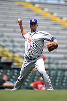 St. Lucie Mets pitcher Logan Taylor (36) throws to first after fielding a bunt during a game against the Bradenton Marauders on April 12, 2015 at McKechnie Field in Bradenton, Florida.  Bradenton defeated St. Lucie 7-5.  (Mike Janes/Four Seam Images)