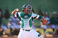 Chicago State Cougars catcher Jacob Northrup (15) throws down to second base in between innings during a game against the Georgetown Hoyas on March 3, 2017 at North Charlotte Regional Park in Port Charlotte, Florida.  Georgetown defeated Chicago State 11-0.  (Mike Janes/Four Seam Images)