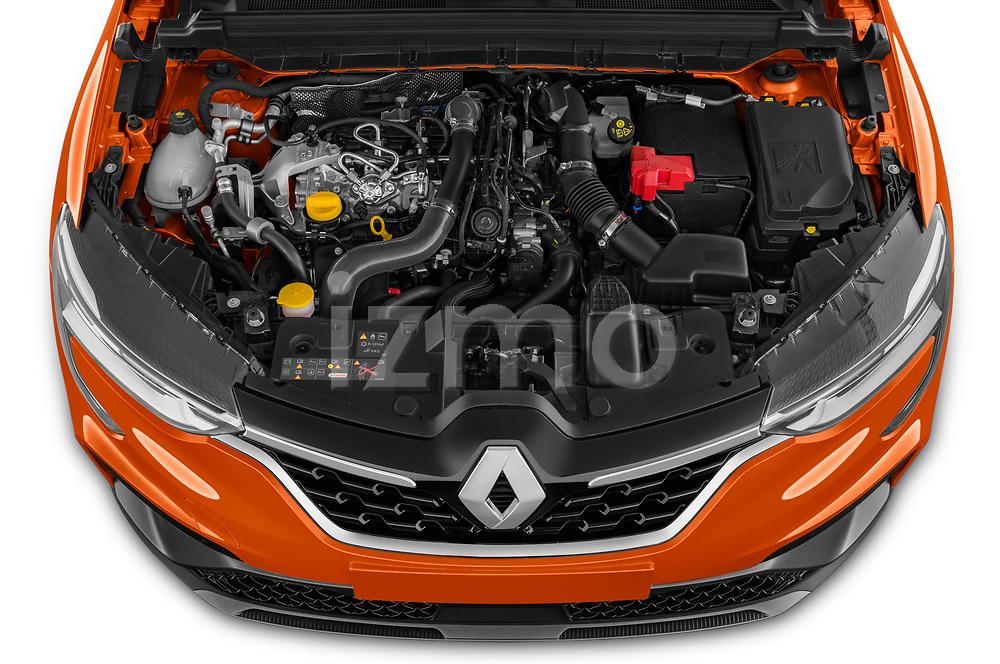 Car Stock 2021 Renault Arkana RS-Line 5 Door SUV Engine  high angle detail view