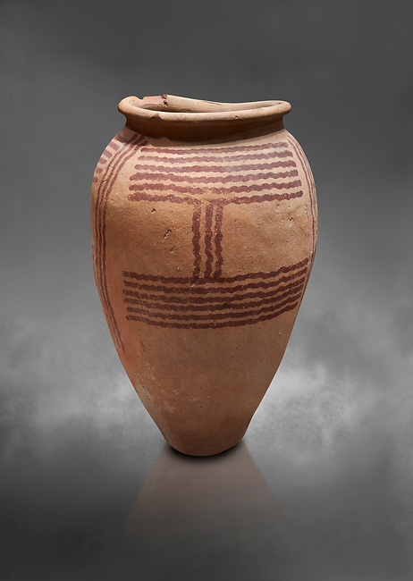 Ancient Egyptian decorated mari ware, class D, baked clay, Predynastic Period, Naqada II Protodynastic Period (3700-300 BC). Egyptian Museum, Turin. Grey Background<br /> <br /> Mari was a new raw material used to make vases from Naqada II onwards. The material was a marl of rich clay found in some ancient Egyptian desert site which was pulverised and mixed with water. Typically the pottery had a rosy sinish when fired making a good background for painted motifs.