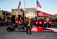 Oct 4, 2020; Madison, Illinois, USA; Connie Kalitta, team owner for NHRA top fuel driver Doug Kalitta celebrates with crew after winning the Midwest Nationals at World Wide Technology Raceway. Mandatory Credit: Mark J. Rebilas-USA TODAY Sports