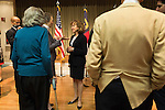 "April 16, 2014. Durham, North Carolina.<br />  Senator Kay Hagan, center, spoke with the audience after an event to award a posthumous Bronze Star. Hagan has been largely absent from the campaign trail even as several Republican challengers have mounted campaigns to defeat her in this year's election.<br />  Kay Hagan (D),  US Senator from North Carolina, attended an event to honor the military service of Donald ""Buddy"" Moore, Hagan awarded Moore's widow Wanda a posthumous Bronze Star, as well as several other medals, for his service in World War II."