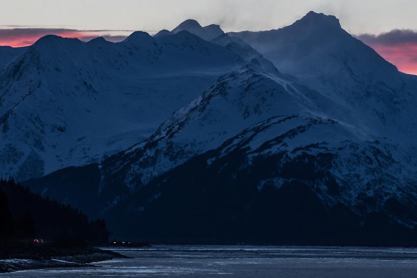 Dawn over windswept peaks along Turnagain Arm, Alaska. Photo by James R. Evans.