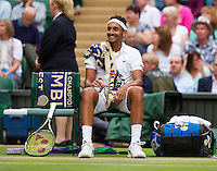 London, England, 4th July, 2016, Tennis, Wimbledon, Nick  Kyrgios (AUS) during changeover against Andy Murray (GBR)<br /> Photo: Henk Koster/tennisimages.com