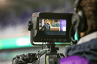 Photo of Kassandra Missipo (12 Anderlecht) through lens of the cameraman before a female soccer game between RSC Anderlecht Dames and Portugese Benfica Ladies  in the second qualifying round for the Uefa Womens Champions League of the 2020 - 2021 season , Wednesday 18 th of November 2020  in ANDERLECHT , Belgium . PHOTO SPORTPIX.BE | SPP | SEVIL OKTEM