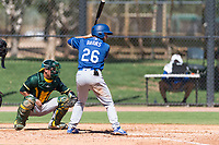 Los Angeles Dodgers outfielder Drew Avans (26) at bat in front of catcher Cesare Astorri (12) during an Instructional League game against the Oakland Athletics at Camelback Ranch on September 27, 2018 in Glendale, Arizona. (Zachary Lucy/Four Seam Images)
