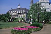 New Orleans, Louisiana.  French Quarter.  Jackson Square, Cabildo in Background, Louisiana State Museum.