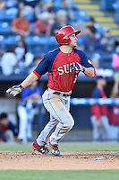 Hagerstown Suns right fielder Rhett Wiseman (8) swings at a pitch during a game against the Asheville Tourists at McCormick Field on June 8, 2016 in Asheville, North Carolina. The Tourists defeated the Suns 10-8. (Tony Farlow/Four Seam Images)