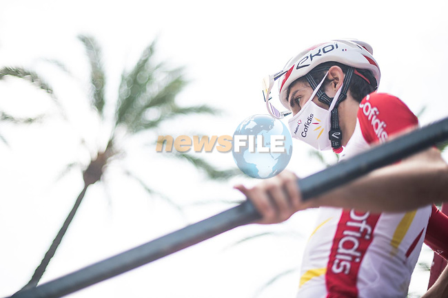Guillaume Martin (FRA) Cofidis at sign on before the start of Stage 8 of La Vuelta d'Espana 2021, running 173.7km from Santa Pola to La Manga del Mar Menor, Spain. 21st August 2021.     <br /> Picture: Charly Lopez/Unipublic | Cyclefile<br /> <br /> All photos usage must carry mandatory copyright credit (© Cyclefile | Unipublic/Charly Lopez)