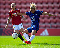 6th September 2020; Leigh Sports Village, Lancashire, England; Women's English Super League, Manchester United Women versus Chelsea Women; Mille Bright of Chelsea Women clears the ball