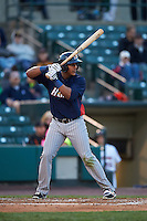 Toledo Mudhens third baseman Jefry Marte (33) at bat during a game against the Rochester Red Wings on May 12, 2015 at Frontier Field in Rochester, New York.  Toledo defeated Rochester 8-0.  (Mike Janes/Four Seam Images)