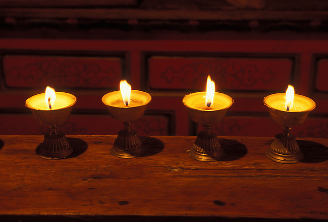 Butter lamps in Ganden Sumtseling Monastery, Zhongdian, Yunnan Province, China, Asia