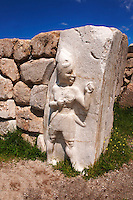 Picture & image of the Hittite Relief sculpture of the God of War of the Kings Gate. Hattusa (also Ḫattuša or Hattusas) late Anatolian Bronze Age capital of the Hittite Empire. Hittite archaeological site and ruins, Boğazkale, Turkey.