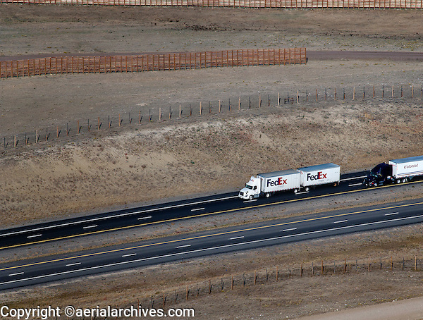 aerial photograph FedEx Freight truck interstate I 80 Wyoming