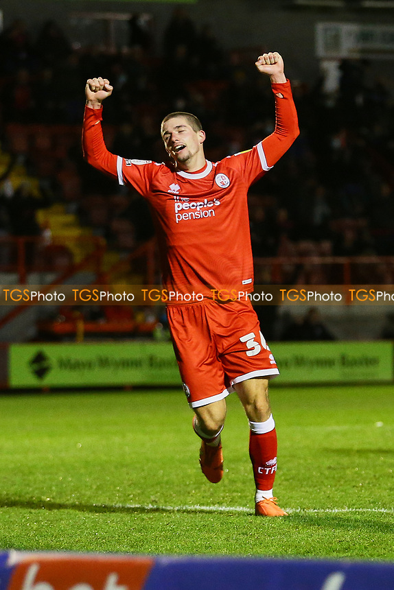 Max Watters of Crawley Town scores goal number 4 for his team and celebrates his hat-trick during Crawley Town vs Barrow, Sky Bet EFL League 2 Football at Broadfield Stadium on 12th December 2020