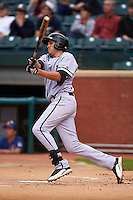 Jacksonville Suns outfielder Matt Juengel (15) at bat during a game against the Chattanooga Lookouts on April 30, 2015 at AT&T Field in Chattanooga, Tennessee.  Jacksonville defeated Chattanooga 6-4.  (Mike Janes/Four Seam Images)
