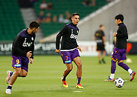 18th April 2021; HBF Park, Perth, Western Australia, Australia; A League Football, Perth Glory versus Wellington Phoenix; Christopher Ikonomidis of the Perth Glory warms up before the match
