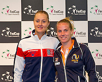 Arena Loire,  Trélazé,  France, 14 April, 2016, Semifinal FedCup, France-Netherlands, Draw,  French Kristina Mladenovic and Dutch Richel Hogenkamp (R) second match saturday<br /> Photo: Henk Koster/Tennisimages