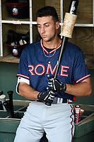 Shortstop AJ Graffanino (16) of the Rome Braves waits by the bat rack before a game against the Greenville Drive on Wednesday, July 11, 2018, at Fluor Field at the West End in Greenville, South Carolina. He is the Atlanta Braves' 2018 eighth-round draft pick. (Tom Priddy/Four Seam Images)
