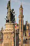 Pieter De Coninck and Jan Breydel Monument with the Provincial Palace in the background, Market Place, Bruges, Belgium, Europe