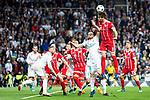 Real Madrid Nacho Fernandez and Sergio Ramos and Bayern Munich Javi Martinez during Semi Finals UEFA Champions League match between Real Madrid and Bayern Munich at Santiago Bernabeu Stadium in Madrid, Spain. May 01, 2018. (ALTERPHOTOS/Borja B.Hojas)