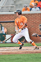 Tennessee Volunteers second baseman Nick Senzel (13) swings at a pitch during a game against the Georgia Bulldogs at Lindsey Nelson Stadium March 21, 2015 in Knoxville, Tennessee. The Bulldogs defeated the Volunteers 12-7. (Tony Farlow/Four Seam Images)