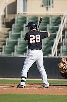 Zach Fish (28) of the Kannapolis Intimidators at bat against the West Virginia Power at CMC-Northeast Stadium on April 21, 2015 in Kannapolis, North Carolina.  The Power defeated the Intimidators 5-3 in game one of a double-header.  (Brian Westerholt/Four Seam Images)
