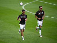 Lincoln City's Liam Bridcutt, left, and Max Melbourne during the pre-match warm-up<br /> <br /> Photographer Chris Vaughan/CameraSport<br /> <br /> Carabao Cup Second Round Northern Section - Bradford City v Lincoln City - Tuesday 15th September 2020 - Valley Parade - Bradford<br />  <br /> World Copyright © 2020 CameraSport. All rights reserved. 43 Linden Ave. Countesthorpe. Leicester. England. LE8 5PG - Tel: +44 (0) 116 277 4147 - admin@camerasport.com - www.camerasport.com