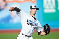 Hudson Valley Renegades starting pitcher Hunter Wood (5) warms up in the outfield prior to the game against the Brooklyn Cyclones at Dutchess Stadium on June 18, 2014 in Wappingers Falls, New York.  The Cyclones defeated the Renegades 4-3 in 10 innings.  (Brian Westerholt/Four Seam Images)