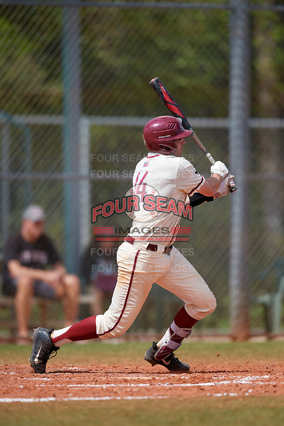 Saint Joseph's Hawks catcher James McConnon (14) bats during a game against the Ball State Cardinals on March 9, 2019 at North Charlotte Regional Park in Port Charlotte, Florida.  Ball State defeated Saint Joseph's 7-5.  (Mike Janes/Four Seam Images)