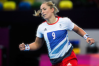 25 JUL 2012 - LONDON, GBR - Britt Goodwin (GBR) of Great Britain celebrates scoring during the women's London 2012 Olympic Games warm up handball match against Spain at The Copper Box in the Olympic Park, in Stratford, London, Great Britain .(PHOTO (C) 2012 NIGEL FARROW)