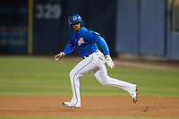 Wander Franco (5) of the Durham Bulls takes off for second base during the game against the Jacksonville Jumbo Shrimp at Durham Bulls Athletic Park on May 15, 2021 in Durham, North Carolina. (Brian Westerholt/Four Seam Images)