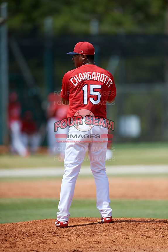 St. Louis Cardinals pitcher Will Changarotty (15) during a Minor League Spring Training game against the Miami Marlins on March 26, 2018 at the Roger Dean Stadium Complex in Jupiter, Florida.  (Mike Janes/Four Seam Images)