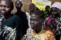 Women queue to vote at a polling station in Malakal, South Sudan. On 9th January 2011 Southern Sudan's people voted in a referendum on whether to become independent from the North..
