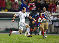 Landon Donovan sprints towards goal with the ball during a 2-2 tie with Costa Rica to put the USA in first place of CONCACAF 2010 World Cup qualifying, at RFK Stadium, in Washington DC, Wednesday, October 14, 2009.