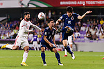 Tomiyasu Takehiro of Japan (R) in action during the AFC Asian Cup UAE 2019 Semi Finals match between I.R. Iran (IRN) and Japan (JPN) at Hazza Bin Zayed Stadium  on 28 January 2019 in Al Alin, United Arab Emirates. Photo by Marcio Rodrigo Machado / Power Sport Images