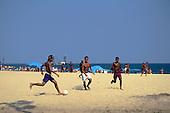 Rio de Janeiro, Brazil. Football on the beach.