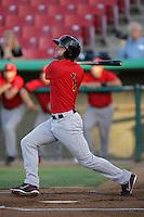Mike Freeman #1 of the Visalia Rawhide bats against the High Desert Mavericks at Stater Bros. Stadium on May 15, 2012 in Adelanto,California. (Larry Goren/Four Seam Images)