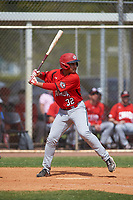 Canada Junior National Team Drew Lawrence (32) bats during an exhibition game against the Toronto Blue Jays on March 8, 2020 at Baseball City in St. Petersburg, Florida.  (Mike Janes/Four Seam Images)