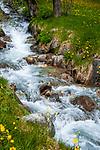 Italien, Suedtirol (Trentino - Alto Adige), Prettau - Weiler Kasern: am Ende des Ahrntals, Italiens noerdlichste Gemeinde im Naturpark Rieserferner-Ahrn, im Hintergrund - Wildbach | Italy, South Tyrol (Trentino - Alto Adige), Prettau (Predoi) - district Kasern (Casere), at valley's end of  Tauferer Ahrntal (Valli di Tures e Aurina), mountain stream
