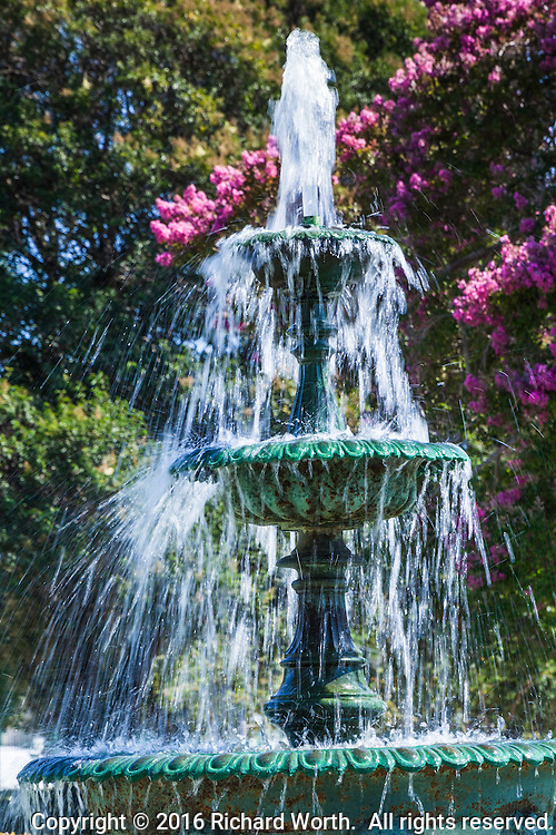 A water fountain on the grounds of the  Meek Mansion at Meek Estate Park in Hayward, California.