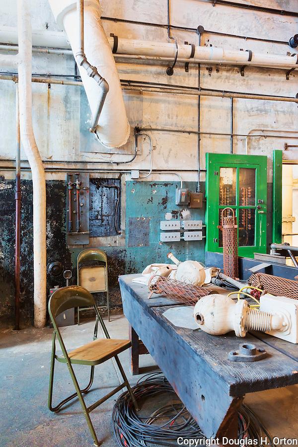 Work Bench, vintage, chair and equipment, Steam geneator,steam turbine, Seattle, WA, Georgetown Steam Plant, a National Historic Landmark in Seattle, WA USA