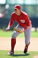 Washington Nationals first baseman Cody Gunter (10) during practice before a minor league spring training game against the Atlanta Braves on March 26, 2014 at Wide World of Sports in Orlando, Florida.  (Mike Janes/Four Seam Images)