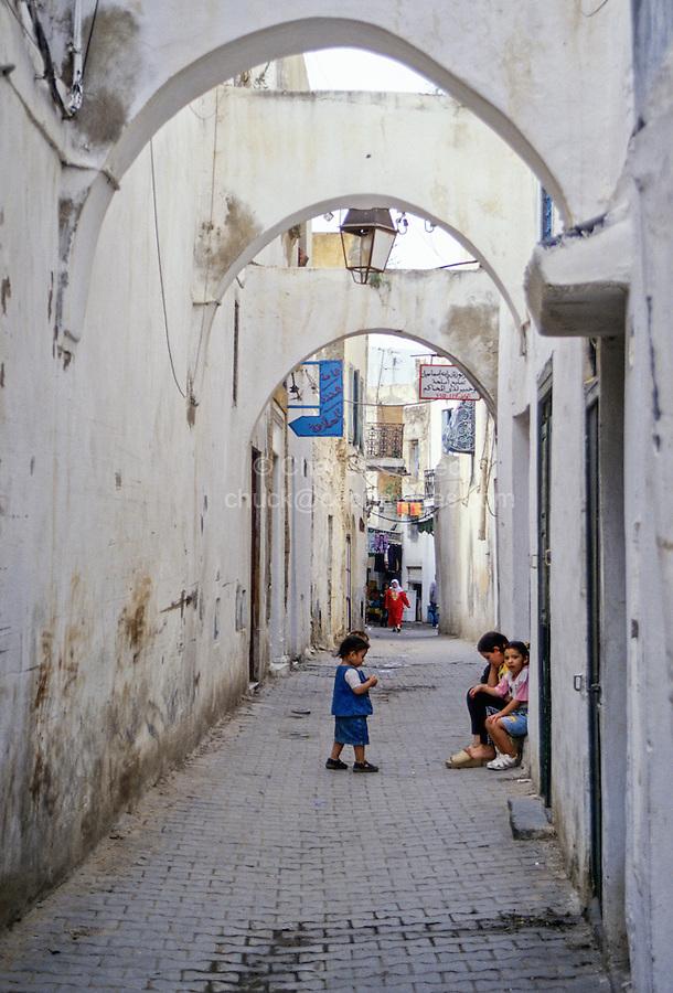Tunisia.  Tunis Medina.  Children in Street.