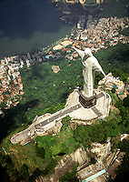 Aerial view of the the Corcovado Christ statue; the city of Rio de Janeiro and harbor below. Rio de Janeiro, Brazil.